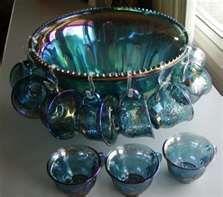 Vintage Indiana CARNIVAL GLASS iridescent blue grape PUNCH BOWL set ...