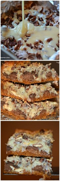SEVEN LAYER CHOCOLATE CANDY DESSERTS BARS  ==INGREDIENTS==  ¾ stick butter, ¼ c brown sugar, 1 c graham cracker crumbs, 1 c coconut, ⅓ c each of white chocolate, bittersweet chocolate and semisweet chocolate discs (or chips), ½ c chopped, 1 can sweetened condensed milk =====