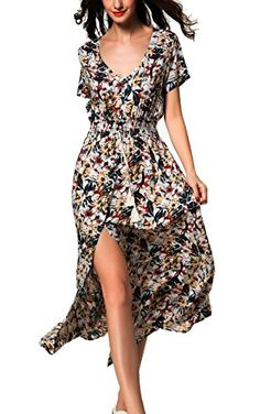 dcd43c526b ARANEE Women s Button Up Split Floral Print Long Maxi Boho Bohemian Dress  (S