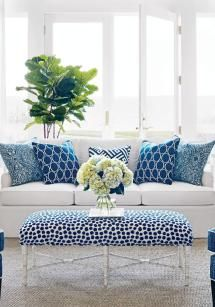 Blue & White Rooms and Very Affordable Blue & White Furniture / Accessories South Shore Decorating B Blue Rooms, White Rooms, Navy And White Living Room, White Couch Living Room, Blue Home Decor, White Decor, Living Room Decor Blue, Decor Room, Coastal Decor