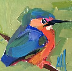 Kingfisher no. 30 Original Bird Oil Painting by Angela Moulton 4 x 4 inch
