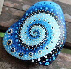 meditation stone mandala stone unique stone rock by KarinGetazArt