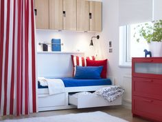 Give a cheer for red, white & blue! A classic combination for dorm room to guest room.