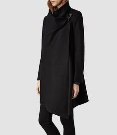 Womens City Monument Coat (Black) | ALLSAINTS.com / love the wrap over front and clasp.