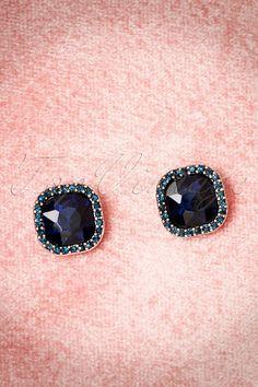Darling Divine - 30s Gracie Crystal Earrings in Blue