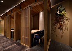 Korean Bbq Restaurant, Japanese Restaurant Interior, Luxury Restaurant, Japanese Interior, Restaurant Interior Design, Cafe Restaurant, Japanese Architecture, Interior Architecture, Kabine
