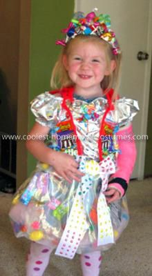 Homemade Candy Princess Costume: My 3 year old daughter decided she wanted to be a Candy Princess. I had no clue how to make a Homemade Candy Princess Costume and I figured she would,