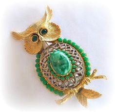 Vintage Owl Pin Brooch Faux Jade Glass by RoseCottageVintage $14.99