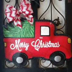 Christmas Tree Truck Burlap Door Hanger Decoration and Wreath Replacement by ConnieRisleyCrafts on Etsy https://www.etsy.com/listing/257221331/christmas-tree-truck-burlap-door-hanger