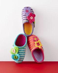 Girls' Boiled Wool Mules, Size 3 Purple