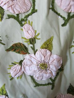 Antique Victorian Ladies Pink Rosette Appliqued Flower Green Wool Afternoon Dress with Bustle - detail