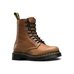 Dr. Martens Pascal PM 8 ($155) ❤ liked on Polyvore featuring shoes, boots, naturesse tan naturesse, urban boots, distressed leather shoes, tan shoes, rugged shoes and dr martens footwear