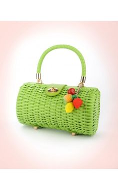 i want i want i want Wicker Baguette Purse in Lime Green with Fruit Charm | Pinup Girl Clothing