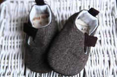 Baby boy shoes - dark brown Loafers - Infant sneakers - Flats Slippers - Crib booties -  brown chevron fabric. $16.95, via Etsy.