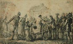 Jan Piotr NORBLIN (1745 - 1830)  Scena uliczna, 1816 piórko, tusz, tusz lawowany, papier, 6,2 x 10,1 cm; dat. p. g.: 1814. (ołówkiem)