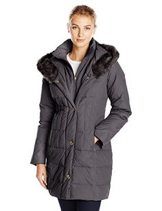 Larry Levine Women's Down-Filled Coat with Faux Fur-Trimmed Hood