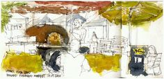 GREAT pen and ink drawing of Veraci Pizza at Ballard Famers Market. Fire Pizza, Wood Fired Pizza, Ink Pen Drawings, Seattle, Artist, Painting, Artists, Painting Art, Paintings