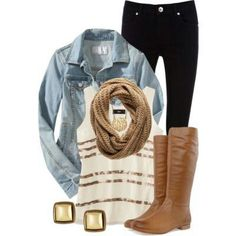 Love the chambray with dark jeans and light brown boots!