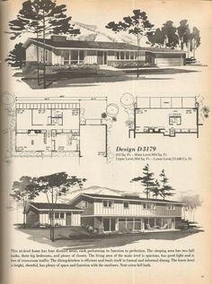 Vintage House Plans, Mid Century Homes, 1970s Floor Plans
