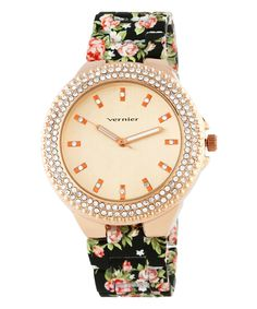This Black & Rose Gold Floral Bracelet Watch by Vernier is perfect! #zulilyfinds
