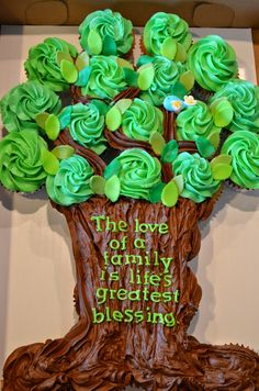 An Adoption Celebration tree of cupcakes