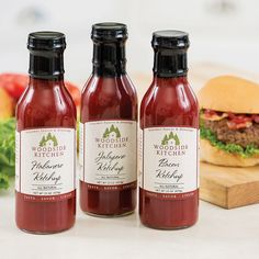 A Zing for Your Taste Buds     Made with all-natural goodness, they're miles ahead of ordinary ketchup. Crown your favorite sandwiches, eggs, meatloaf and more with a rich infusion of flavor (like bacon – need we say more?). Your burger will be begging for more.    Made in small batches by a family company that insists on the finest ingredients   Each net wt 15 oz    Glass bottles   USA made