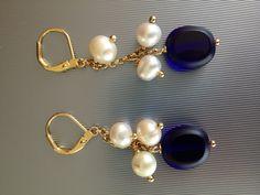 Aretes Piedra azul y perlas en oro de 14k