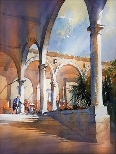 Meeting for Lunch - San Miguel. Thomas W Schaller - Watercolor. 24X18 Inches