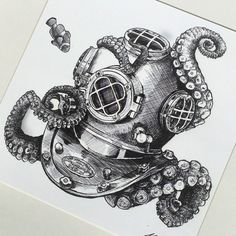 Image result for octopus and diver tattoo More