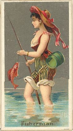 / fisherman/ from the occupations for women series / trade card issued by goodwin & company for old judge and dogs head cigarettes / 1887 / the metropolitan museum of art / Vintage Artwork, Vintage Images, Vintage Posters, Illustrations, Illustration Art, Estilo Pin Up, Collectible Cards, Pin Up Art, Vintage Ephemera