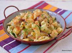 Paste cu cartofi și ceapă călită – tăiței sau laște cu crumpi răntăliți (de post) Main Dishes, Side Dishes, Kung Pao Chicken, Paste, Potato Salad, Shrimp, Potatoes, Vegan, Ethnic Recipes