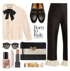 """Born to Rule"" by kawrose02 ❤ liked on Polyvore featuring Gucci, Isa Arfen, Illesteva, Bobbi Brown Cosmetics and Burberry"