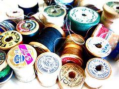 vintage wood spools and threads