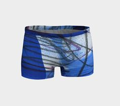 Blue, white, and black workout shorts, exercise, yoga shorts, running shorts, art to wear, stretch material, wearable art, breathable fabric #etsy