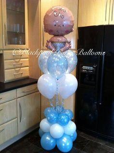 New baby boy balloon display Owl Centerpieces, Balloon Decorations, Baby Shower Decorations, Balloon Stands, Balloon Display, Baby Boy Balloons, Baby Shower Balloons, Baby Shawer, New Baby Boys