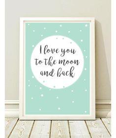 """""""I LOVE YOU TO THE MOON AND BACK"""". Schöne Poster für das Kinderzimmer. Wunderbares Bild, das sich wunderschön an der Wand präsentiert. Delicate Pastellfarben. Sie können die Farbe..."""