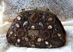 Купить сумочка ''Antique '' - коричневый, орнамент, сумочка с фермуаром, вышитая сумочка