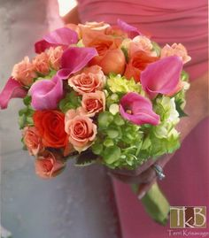 Hot pink, orange & lime green bridal bouquet with callas, roses & hydrangea #terrikrisavage #connecticutweddings