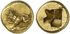 EL Hemihecte. Greek Coins, Italy, Mysia, Cyzicus. Circa 480-450 BC. 1,33g. Von Fritze, Kyzikos 7,85. Rare denomination. EF. Price realized 2011: 1.900 USD.
