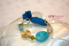 Very cute bracelet made of blue silk,  amazonite, strawberry cristal stone, green serpentine, Akan gold weight. #aflebijoux #bijoux #jewelry #etsy