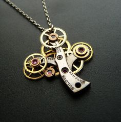 clock gears tree necklace = awesome.