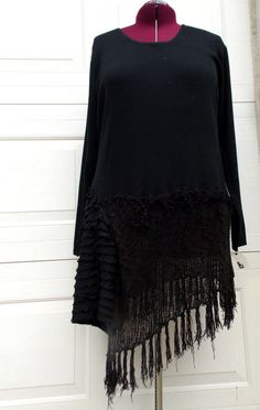 4X Fringed Sweater Tunic XXXXL Plus Size by RebeccasArtCloset