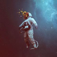 Spaceman Illustration shared by Brianna Aus on We Heart It Photomontage, Space Illustration, Psy Art, Foto Art, Cosmos, Art Inspo, Bunt, Science Fiction, Concept Art