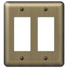 Amerelle Devon 2-Gang Brushed Brass Decorator Rocker Steel Wall Plate