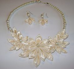 Handmade kanzashi satin fabric ivory set of by Decorrencia on Etsy, $16.90