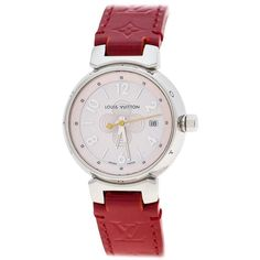 The watch catches your attention at the very first instance. In a stainless steel case engraved with the brand lettering, a pink mother of pearl dial sits with a notable flower right in the center, three hands and Arabic numeral and index hour markers. To elevate the value and beauty of the watch, the case back is engraved with the monogram details. Bright red leather straps emerge from the case to wrap around your wrist thrice and a simple buckle clasp is provided to help fasten this… Louis Vuitton Watches, Pre Owned Louis Vuitton, Tambour, Rolex Women, Rolex Models, Stylish Watches, Watch Brands, Stainless Steel Case, Quartz Watch