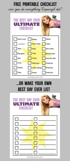 """Free printable """"BEST DAY EVER"""" checklists... inspired by Rapunzel. Fill out the blank one with activities for a fun mother-daughter day, or challenge yourselves to complete Rapunzel's list (if you're crafty and brave). #DisneyBeauties #Shop #Tangled"""