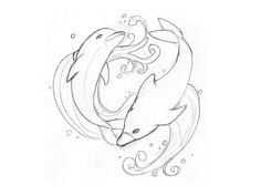 dolphin and flowers tattoo | Free designs - Swimming dolphins tattoo wallpaper