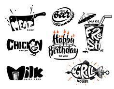 Lettering & FOOD emblem - via Dog Logo Design, Food Graphic Design, Food Poster Design, Game Logo Design, Graphic Design Illustration, Typographie Inspiration, Dj Logo, Design Palette, Logo Restaurant