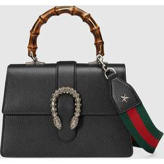 Gucci Dionysus Leather Top Handle Bag (43.550 ARS) ❤ liked on Polyvore featuring bags, handbags, black, pocket purse, real leather handbags, bamboo purse, structured leather handbags and gucci purse
